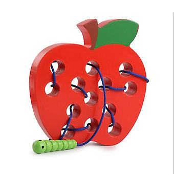 Wooden Lacing Apple Threading Toys Wood Block Puzzle Travel Game Educational Gift |