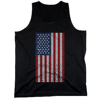 Distressed amerikanische Flagge schwarz Herren Tanktops für Independence Day