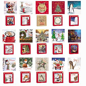 Box 12 Traditional Square Christmas Cards 2 Various Festive Designs