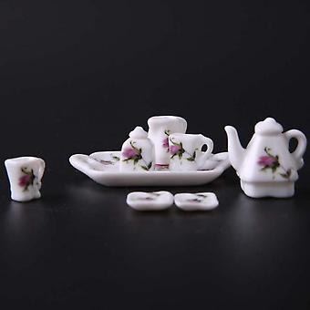 Doll House 1/12 Doll House Miniature Tableware Porcelain Plate/cup/tea Tray Set 8 Pieces