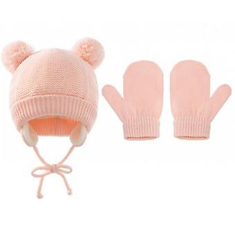Winter Kids Polar Fleece Soft Warm Hat Gloves Set(Pink)