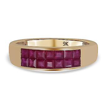 TJC Ruby Wedding Band Ring for Womens 9K Yellow Gold 1ct(O)