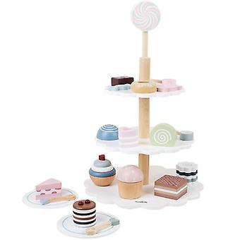 Wooden Cake Desserts Tea Set Pretend Role Play Tower Food Toys Gifts