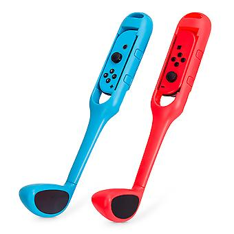 2 Joy-con Golf Clubs For Nintendo Switch, Golf Game Accessory Controller Handles For Mario Golf Super Rush (red And Blue)