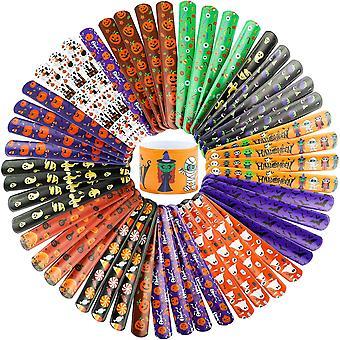 Halloween Slap Bracelets Toys Assorted Snap Bracelets Wristbands 48pcs