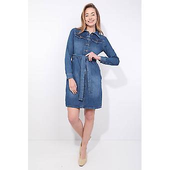 kvinners belte langermet jean kjole