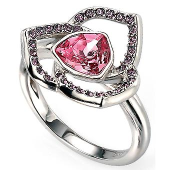 925 Silver Rhodium Plated And Swarovski Crystal Trend Ring