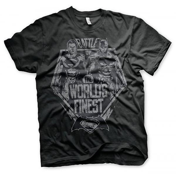 Batalha de Superman Batman Mens Batman V do mundos melhores t-shirt preto