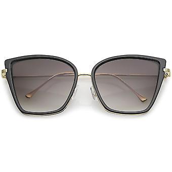 Oversize Cat Eye Sonnenbrille Frauen mit schlanken Arme Metall Trim getönten Objektiv 56mm
