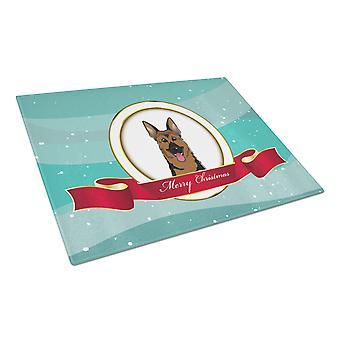 Deutscher Schäferhund Frohe Weihnachten Glas Schneidebrett groß