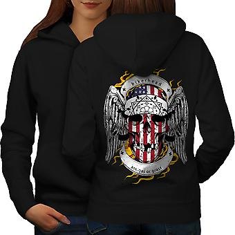 Skull Biker Head Face USA Women BlackHoodie Back | Wellcoda