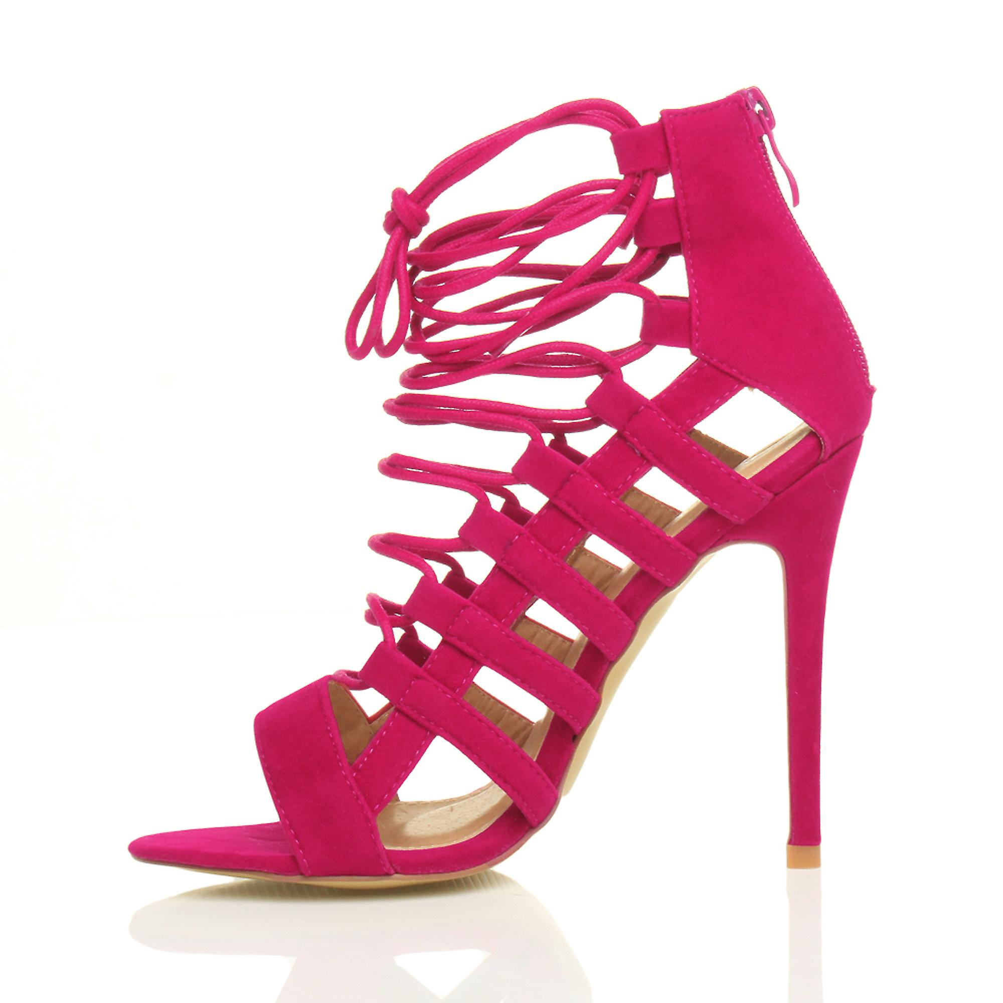 Ajvani womens high heel strappy lace up zip cut out ghillie sandals shoes