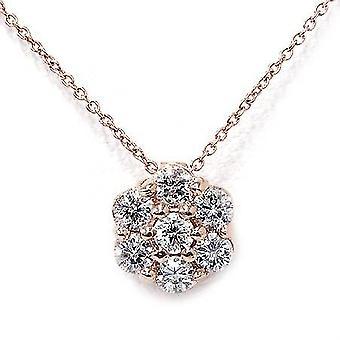 1/2ct Pave Fire Diamond Solitaire Pendant 14K Rose Gold