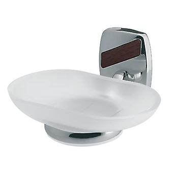 Wall Mounted Grip Tempered Glass Soap Dish Plate Bathroom Chromed Zamak