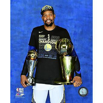 Kevin Durant with the 2018 NBA Championship & MVP Trophies Game 4 of the 2018 NBA Finals Photo Print