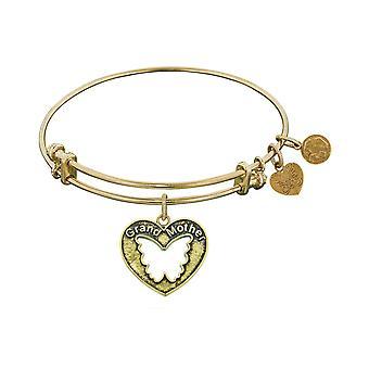 "Smooth Finish Brass Grand Mother  Angelica Bangle Bracelet, 7.25"""