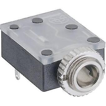 Lumberg 1503 17 3.5 mm audio jack Socket, horizontal mount Number of pins: 3 Stereo Black 1 pc(s)