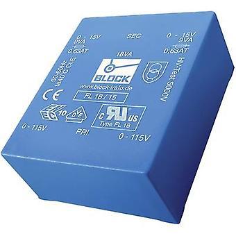 Trasformatore di montaggio PCB 2 x 115 V 2 x 15 V AC 14 VA 466 mA FL 14/15 bloccare
