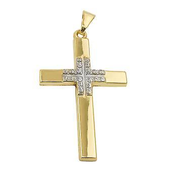 29x19mm двухцветный 9Kt Золотой крест кулон