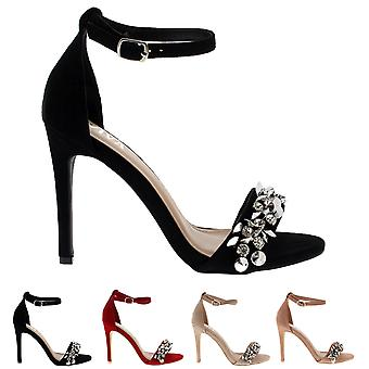 Womens Diamante Front Strap Ankle Strap Party Sandals High Heels Shoes UK 3-8