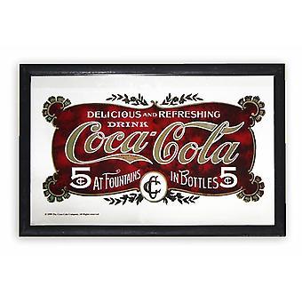 Coca-Cola Spiegel 5 Cent  Wandspiegel mit schwarzer Kunststoffrahmung in Holzoptik.