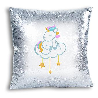 i-Tronixs - Unicorn Printed Design Silver Sequin Cushion / Pillow Cover with Inserted Pillow for Home Decor - 1