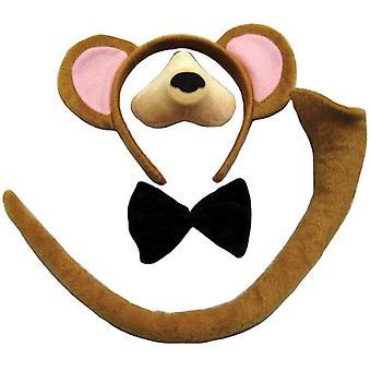 Zestaw małpa (uszy, nos, ogon + muszka).