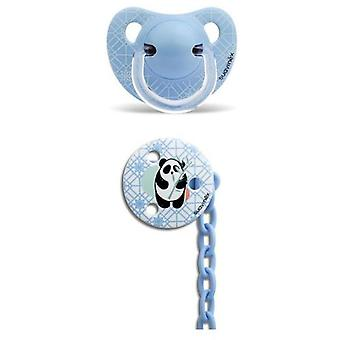 Suavinex Latex Anatomic Pacifier + Blue Panda Brooch 6 to 18 Months