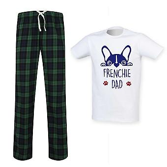 Mens Frenchie Dad Tartan Pyjama Set