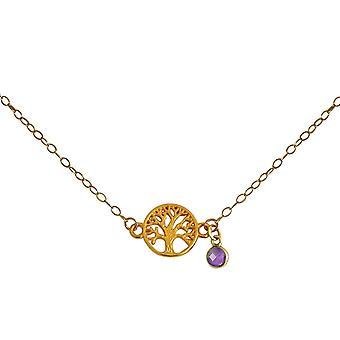 Gemshine YOGA ketting levensboom Amethyst 925 zilver kostbaar goud verguld of Rose