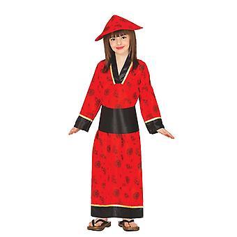 Girls Red Chinese Mandarin Fancy Dress Costume