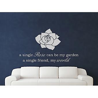 A Single Rose Wall Art Sticker - Grey