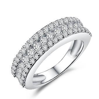 925 Sterling Zilver drie rijen helft eeuwigheid ronde gesneden stenen held Ring