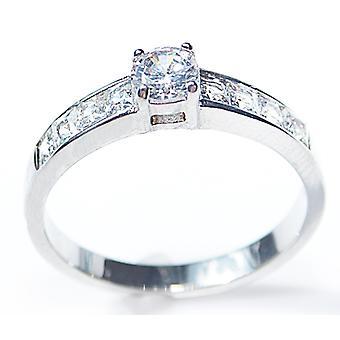 Выгравировано с всегда в моем сердце-AH! Ювелирные изделия принцесса Вырезать кольцо круглый центр камень