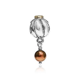 Pandora Blossom Silver, 14k Gold, Brown CZ & Brown Pearl Charm 790402BCZ