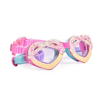 Girls multi coloured heart sparkly swimming goggles