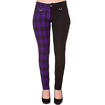 Banned Apparel Half Black Half Purple Check Skinny Jeans