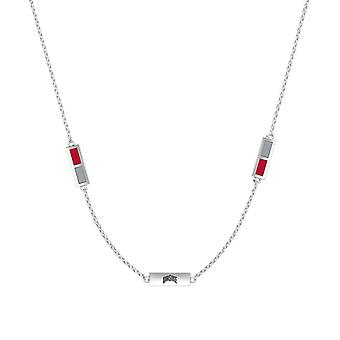 The Ohio State University Sterling Silver Engraved Triple Station Necklace In Red and Grey