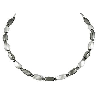 Eeuwige collectie Visage zilver en grijs hematiet kralen ketting