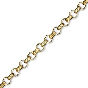 Jewelco London Men's Solid 9ct Yellow Gold Hand Assembled Engraved Cast Belcher 8.5mm Gauge Chain Necklace
