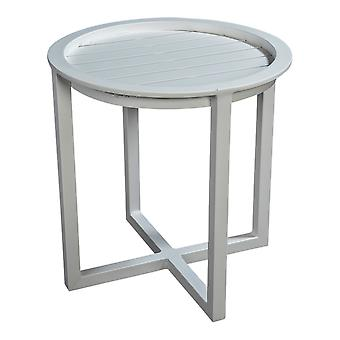 Beach7 | QUEENS LOUNGETAFEL Full ALUMINIUM Ø 50CM |  Wit |