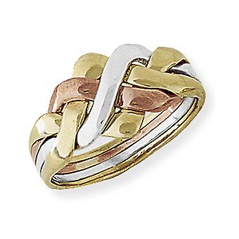 Jewelco London 9ct White Rose & Yellow Gold Four-Row Piece Puzzle Ring 10.7mm