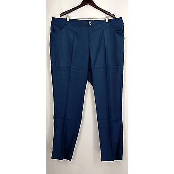 IMAN plus broek 3XT knop sluiting faux Fly denim look Chambray blauw