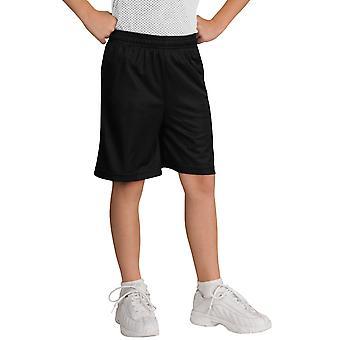 Sport-tek ungdom shorts mesh w/Tricot foring YT510 sort ny