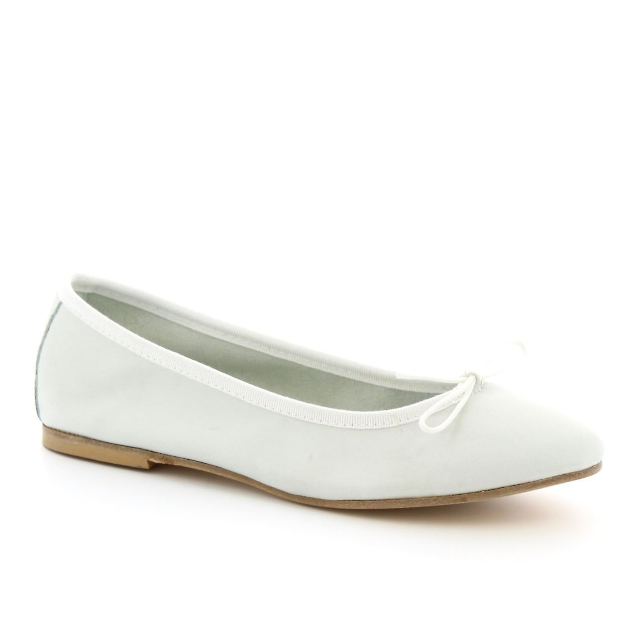 Leonardo Shoes Women's handmade ballet flats shoes in white calf leather QGUYz