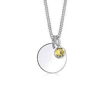 Elli dame halskjede i sølv 925 med gul Swarovski krystall-rund