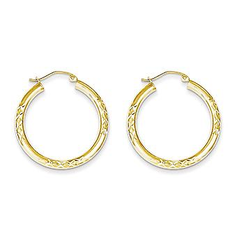 10k Yellow Gold Polished Hinged post Sparkle Cut 3x30mm Hollow Tube Hoop Earrings Jewelry Gifts for Women