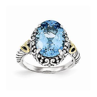 925 sterling silver med 14K gul lt Swiss Blue Topaz oval Ring-Ring storlek: 7 till 8
