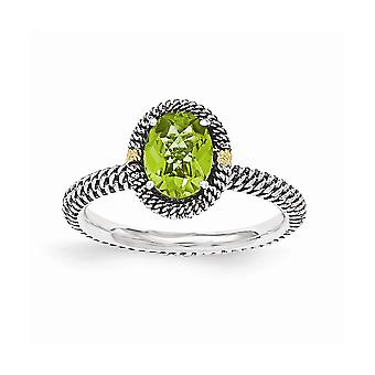 925 Sterling Silver With 14k Oval Peridot Ring  Jewelry Gifts for Women - Ring Size: 7 to 8