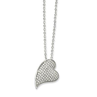 925 Sterling Silver Rhodium plated Lobster Claw Closure and CZ Cubic Zirconia Simulated Diamond Polished Love Heart Neck